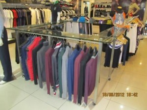 display of racks of readymade garments