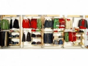 display racks of readymade garments