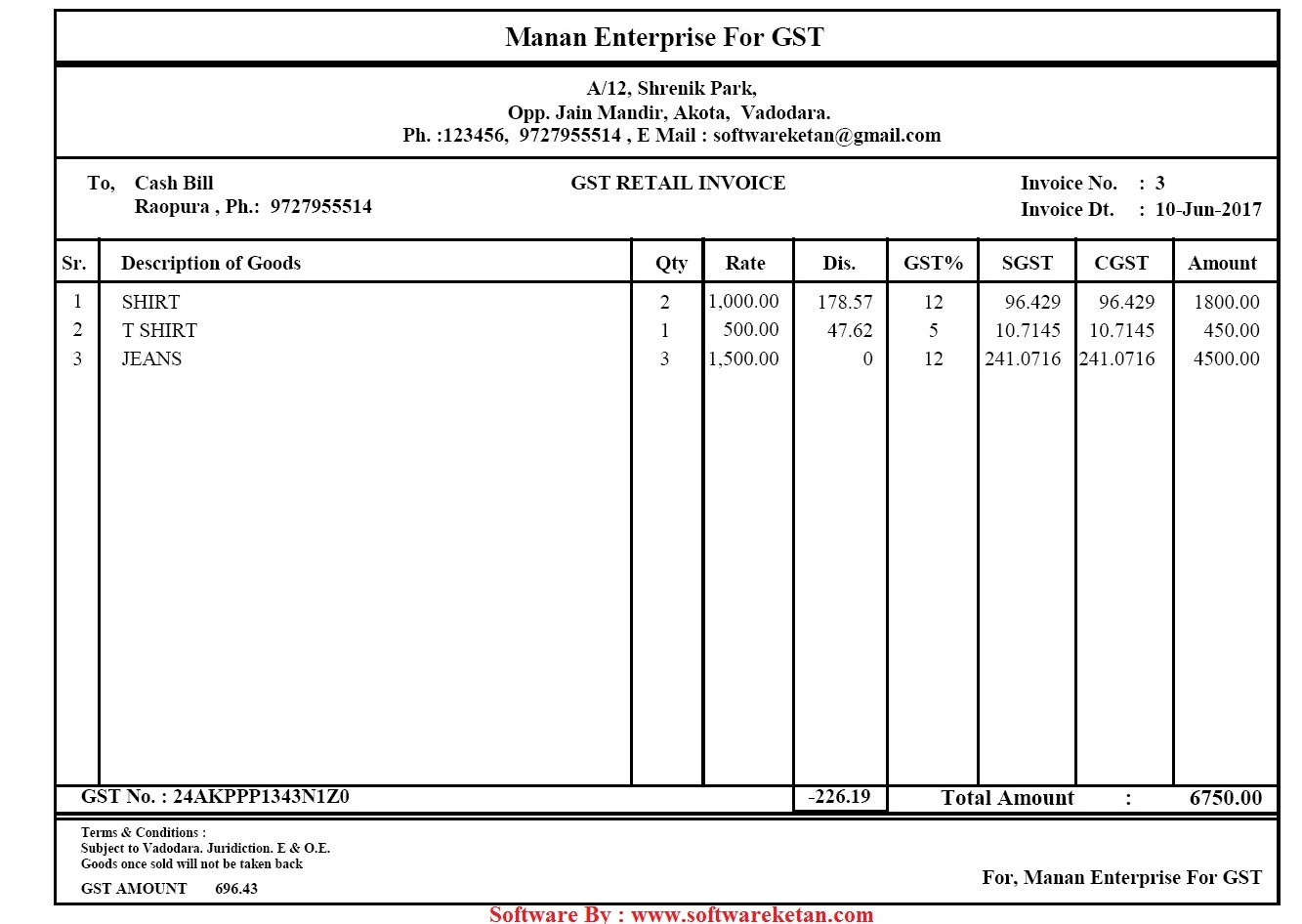 general invoice format